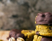 100%Vegan-The Amazing Dipped and Chipped Salted Pistachio Dream Come True-Six Cookies