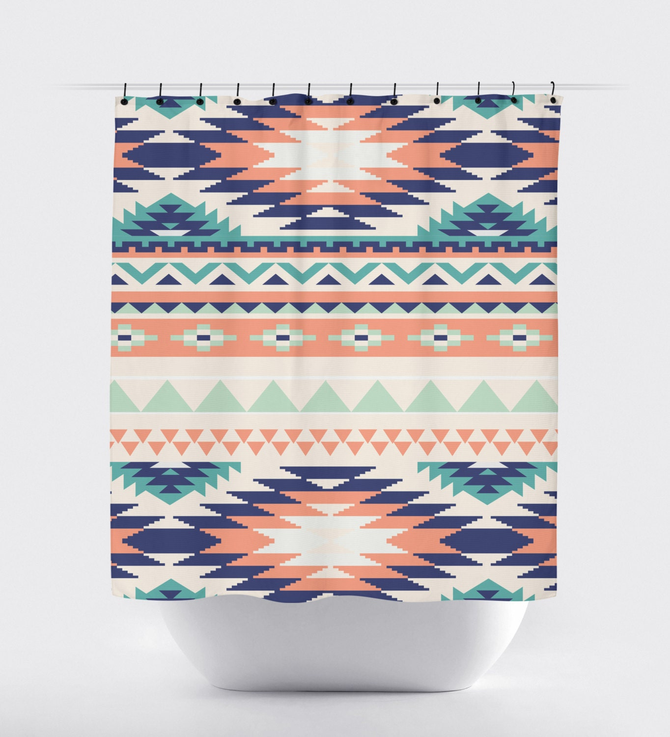 coral and turquoise aztec fabric shower curtain high quality