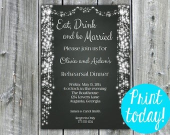 Instant Download- Chalkboard Rehearsal Dinner Invitation, wedding invitation, bridal shower invitation, wedding shower, string lights