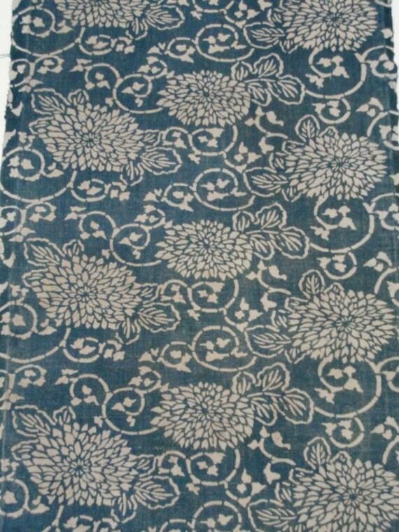 vintage Japanese indigo fabric KATAZOME AIZOME Free