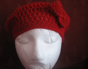 Girls red beret with bow
