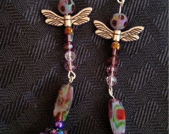 shoulder dusting dangle dragonfly earrings