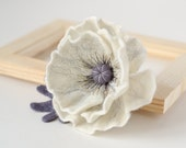 White Flower Brooch Poppy brooch Felt flower pins White jewelry White brooch Handmade jewelry store Unique gift for Her Present for woman