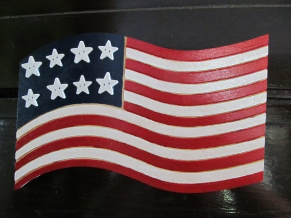 Wood Wavy American Flag Fourth Of July Wall Hanging Sign