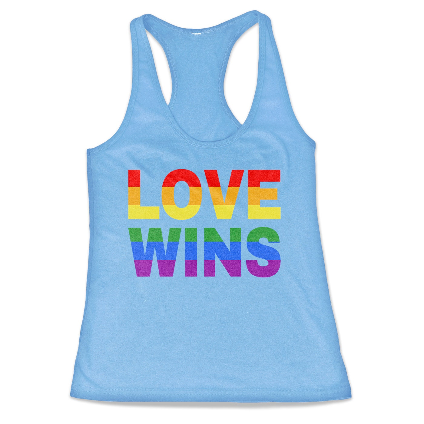 Love Wins - Love Not Hate Marriage Equality Gay Pride Tri-Blend Racerback Tank Top