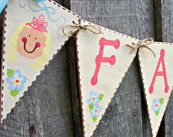 Princess Banner Bunting, Girls Wood Name Sign, Princess Nursery, Princess Party Decor, Cottage Chic Flag Banner