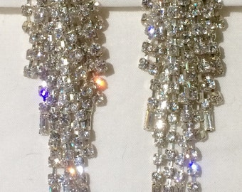 Vintage 80s Rhinestone Earrings runway cascade wedding, party, statement