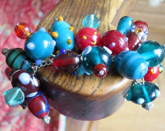 Unique, Red and Teal Blue Lampwork Bracelet
