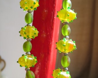 Lemon and Lime Lampwork Necklace Made By Me