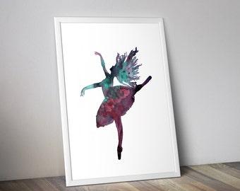 Dancer silhouette, watercolor woman, ballerina, watercolor dancer