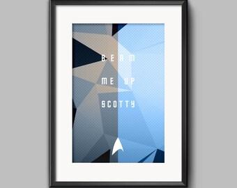 "Star Trek Quote Print - ""Beam Me Up Scotty"" Digital Typography Illustration - Instant Download Digital File"