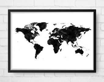 World Map Poster, Watercolor Print, World Map Art, World Map, Wanderlust, Travel Poster, Map of World, World Map Digital, Wall Art
