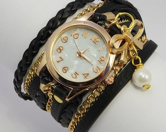 Wrap Watch Bracelet Watch Wrist Watch Vintage Watch Bracelet black Gold Wrist Watch Pearl Jewelry Christmas gift Anniversary gift for her