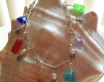 Ankle bracelet with genuine sea glass and upcycled glass, seed pearls, dragonflies on silver chain.