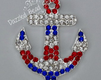 49mm rhinestone ANCHOR patriotic pendant