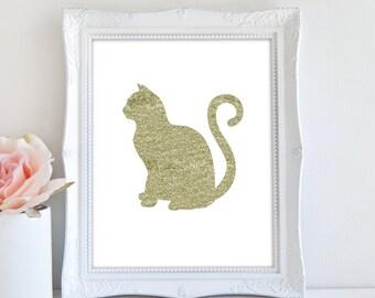 Cat Print, Glitter Cat, Printable Wall Art, Cat Decor, Cat Silhouette Print, Animal Nursery Print