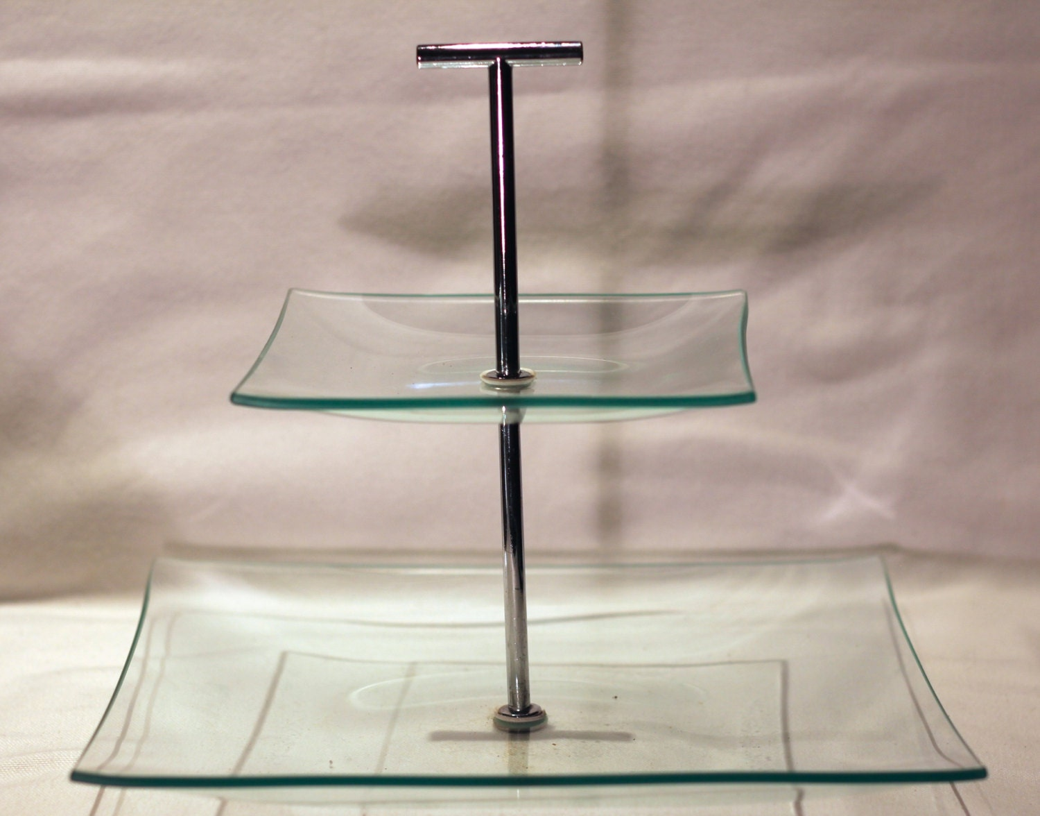 Cake Stand Kitchen Art : Two Tiered Clear Glass Pedestal Cake Stand Cookie Stand ...
