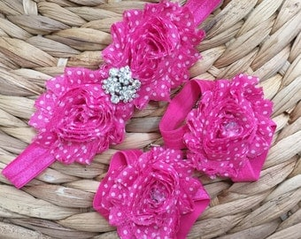 Hot Pink with Bling- Barefoot Sandals/Headband Set