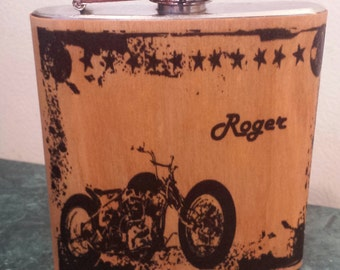 Wood flask with motorcycle stars design