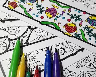 Printable: Zendoodle bookmarks DIY print & color
