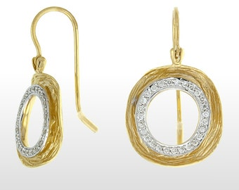 Unique Textured Diamond Earrings 14k Yellow Gold - Diamond Earrings 14k Yellow Gold