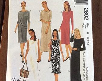 """Shift DRESS, Maxi or Midi, Size 6-8-10, Bust 30 1/2"""" to 32 1/2"""", McCalls 2892."""