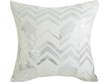 "Metallic Silver White Sequins Chevron Square Accent Throw Cushion 18"" X 18"""