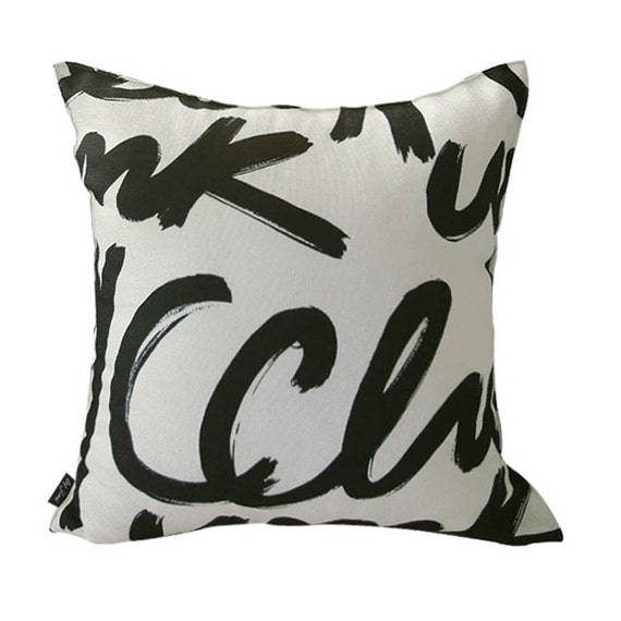 Black And Ivory Throw Pillows : Black Letters Printed Ivory Square Throw Pillow by enapremium
