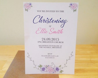 Christening Card/Baptism Card/Floral/pink/purple/green/bunny/flowers