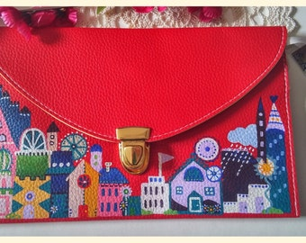 Red clutch bag-upcycled-gold chain-clasp closing-funky cute hand painted houses.