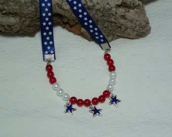 Red white and blue dog necklace, Fourth of July dog necklace, Holiday dog necklace,Dog necklace with stars, Dog holiday jewelry