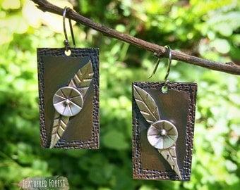 Flower Earrings, Copper Earrings, Sterling Silver Earrings, Silver and Copper Flower Earrings
