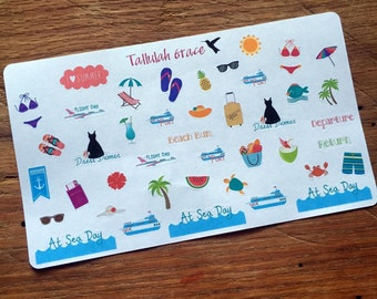 H106 - Summer Cruise Vacation Planner Stickers | Perfect for Your Erin Condren Life Planner