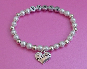 Personalised bridesmaid/flowergirl bracelet with bag and gift card.