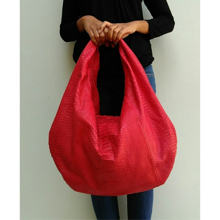 Exotic red hobo bag large leather hobo bag python bag