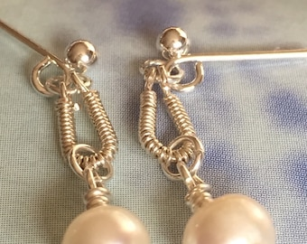 Pearl and Wire Dangle Earrings