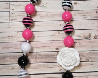 Hot Pink Chunky Bead Necklace, Bubblegum Bead Necklace Pink, Black and White