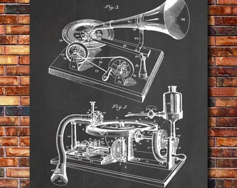 Gramophone Patent Print Art 1895