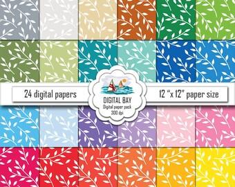 "FLORAL DIGITAL PAPERS - Digital paper pack – Instant download - Scrapbook Paper – 12"" x 12"" - Commercial use –Digital background"