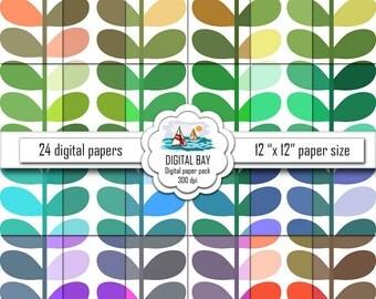 """LEAVES - Digital paper pack – Instant download - Scrapbook Paper – Digital scrapbook - 12"""" x 12"""" - Commercial use –Digital background"""