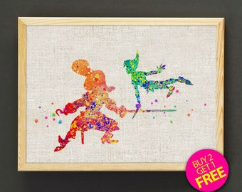 Peter Pan Print, Captain Hook Print, Disney Print, Watercolor Print, Kids Decor, Home Decor, Wall Decor, Gifts - FREE Shipping - 16s2g