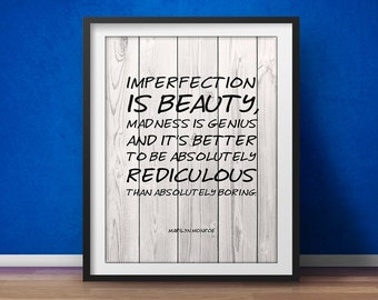Marilyn Monroe Quote - Imperfection Is Beauty - Inspirational Quote, Confidence Print, Inspirational print, Beauty Quote Printable