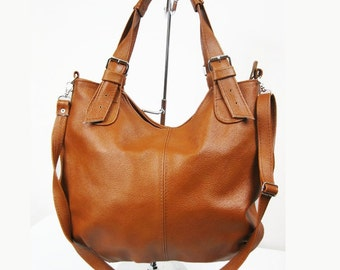 LEATHER BAG, Leather HOBO Bag, Leather Shoulder Bag,  Cross Body Bag, Tan Leather Tote, Brown Leather Handbag, Brown Leather Purse