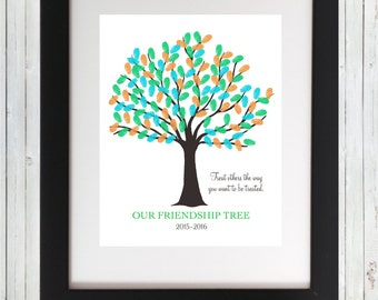 Friendship Tree 2017-2018 Class Fingerprint Tree Students Wall Art 8x10 Treat others as you want to be treated - Printable Instant Download