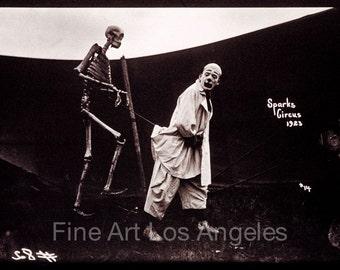 "Fred Glasier Photo, ""Clown, Skeleton, Sparks Circus"", 1923"