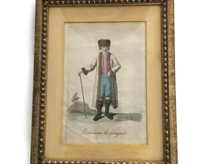 Antique Framed Hand Colored Mezzotint of 1800's Costume of Prague