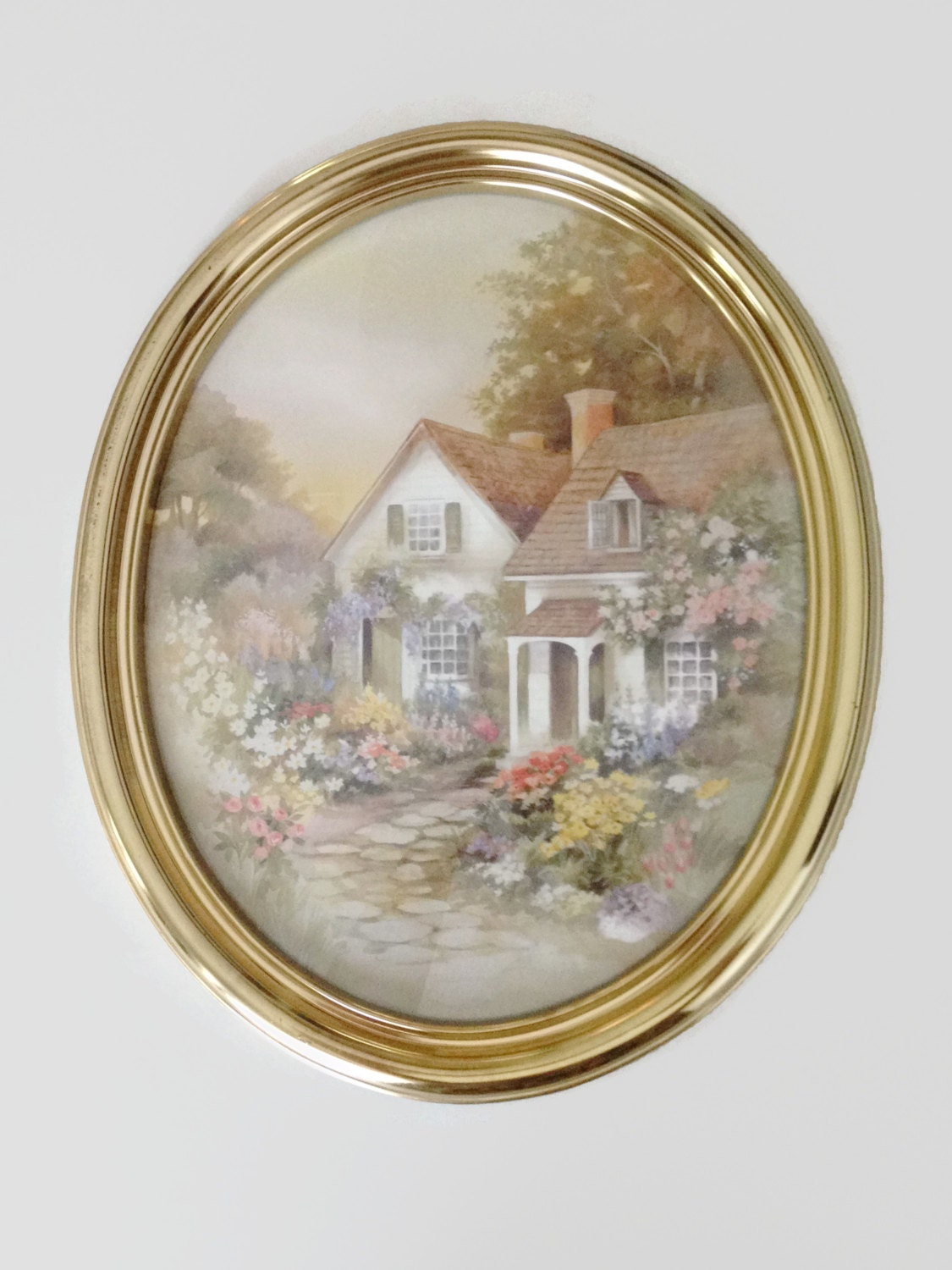 homco home interiors framed watercolor print cottage