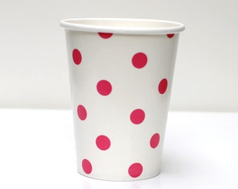 Hot Pink Polka Dot Cups Pack of 12
