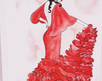 Flamenco Dancer Art Print Blank Greeting Card