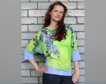 Hand painted silk tunic Summer trends Silk clothing Floral silk tunic Women's fashion Gift for woman Long tunic top Floral silk tunic
